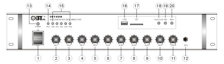 Amply liền mixer cho loa âm trần có công suất lớn nhất obt-6650