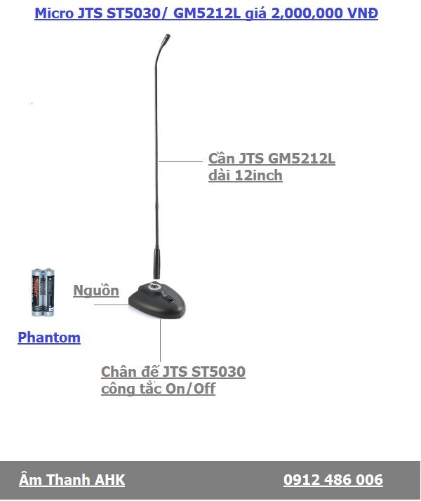 Micro hoi thao chan de JTS ST5030 va can micro GM5212L